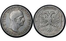 10 Lek 1939 R Albania Silver Coin // Vittorio Emanuele III # 34 From 1$