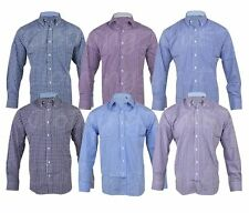 Men's Collared Long Sleeve Check Polycotton Casual Shirts & Tops