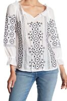NWT Womens Romeo & Juliet Couture White/Blk Embroidered Peasant Top Sz M Medium