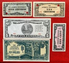 Japan Wwii Paper Money Government Currency 5, 10 Peson; 1, 5, 10 Centavo