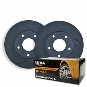 DIMPLED SLOTTED FRONT BRAKE ROTORS + PADS for Mitsubishi Triton ML MN MQ 2006 on