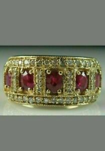 3Ct Oval Cut Red Ruby & Diamond Cluster Wedding Band Ring 14K Yellow Gold Finish