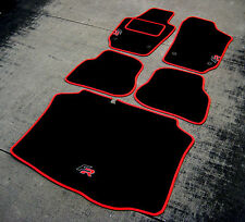 Black/Red Car Mats to fit Seat Ibiza 6J LHD (2008-2017) + Boot Mat + FR Logos