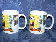 Sponge Bob Square Pants 2007 Pair Set Of 2 10 oz Matching Coffee Mugs