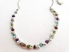 BRIGHTON Colorful  Bead Crystal Silver  Heart Necklace