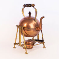 Arts and Crafts Copper & Brass Tea Kettle With Burner on Stand