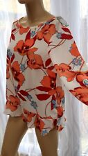 AG Floral Multi Coral White Top Blouse Long Sleeve Smart Casual by TU 16uk Work
