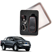 Black Leather Key Flip Case Fit Ford Ranger Mustang Mondeo Focus Escort 2016+