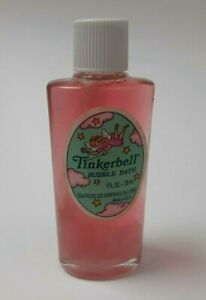 Vintage Tom Fields Tinkerbell Bubble Bath 1 oz. Glass Bottle