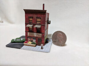 Z scale scratch built NEIGHBORHOOD MATTINGLY GROCERY - building, stucture