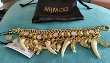 Bnwt Mimco RAPTOR REPTURE GOLD CREAM AND  PINK  WRIST Bangle Bracelet RRP $ 149