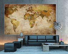 World Map Photo Wallpaper - Vintage Retro Motif - Xxl World Map Mural - Wall