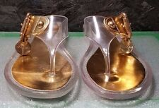 Lucite and Gold Buckle Thong Sandal by BGBGirls, Size 8M, NWB