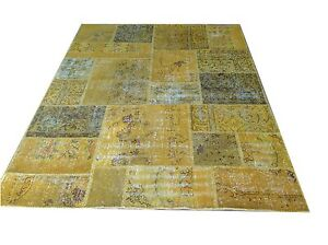 CUSTOM MADE yellow amber vintage Overdyed Handmade Turkish Patchwork Carpet rug