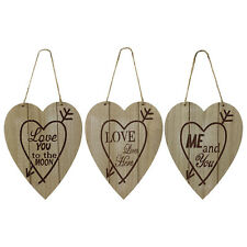 Set of 3 Hearts Wooden Look Plaques Signs with Juste Hanger Wall Mount Ornament
