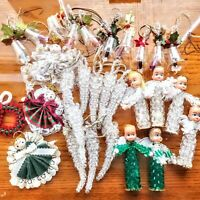 "Vintage Handmade Bead Christmas Ornaments Angels Bells Icicles Wreath 29 Pc 2""-3"