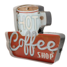 3D Metal Tin Signs Coffee Plaque LED Light Box Home Cafe Pub Bar Wall Decor