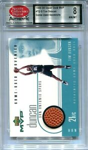 1999-00 Upper Deck MVP Game-Used Souvenirs TD Tim Duncan Ball SCD 8 NM-MT