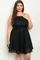 Womens Plus Size Black Cocktail Dress 3XL Sleeveless Textured Skater Dress