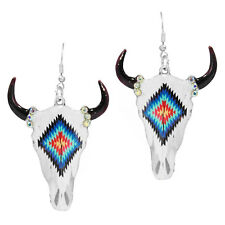 Native American Indian Cow Longhorn Skull Rockabilly earrings BLUE SERAPE RED