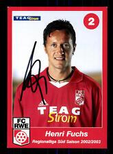 Hensi Fuchs Autogrammkarte Rot Weiss Erfurt 2002-03 Original Sign+A 163085