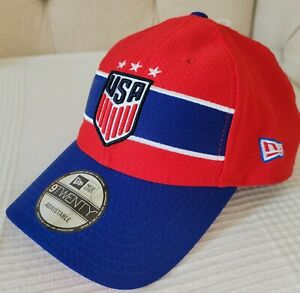 US Soccer USWNT USA New Era 9Twenty Adjustable Cap Hat Red White Blue NWT