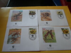 Guinea 1987 Wwf African Wild Dog 4 FDC First Day Covers