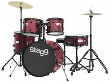 STAGG TIM120B Deluxe 5 Piece Complete Drum Set WINE RED + Cymbals Stands Sticks