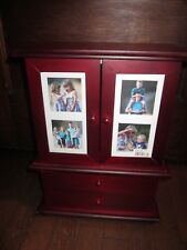 Wood Wooden Cherry Jewelry Box Organizer Chest Cabinet American Girl Doll