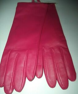 Ladies Leather 100% Cashmere Lined Gloves,Fuchsia,Size 7.5