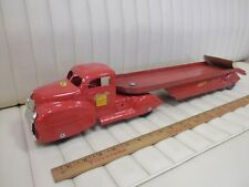 LINCOLN Auto Transport Truck Car Hauler Pressed Steel Toy CANADA Restored-Cab