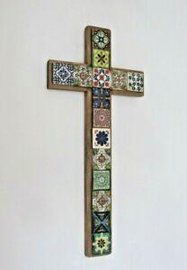 Large Talavera cross Mexican wall hanging decoration cross crucifix
