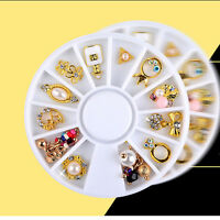 Alloy Charms Metal Glitter Rhinestones 3D Nail Art Gold 12 Styles Decorations