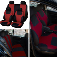 Car Front+Rear 5-Seats Cover Set Red Breathable Protector Four Season Universal