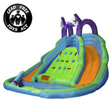 OPEN BOX - Bounce House With Climbing Wall, Water Slide And Pool With Blower