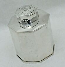 Vintage Solid Silver Octagon Formed Tea Caddy Canister Pierced Cover