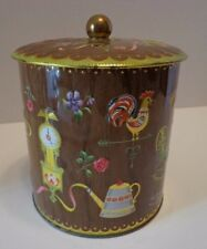 """Vtg Metal Coffee Canister Rooster Coffee Pot England Clock Gold Trim 8"""""""