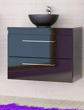 Waschbeckenunterschrank Badmöbel Set mit Platte 82 Schwarz Hochglanz Badezimmer