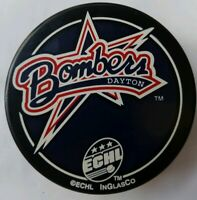 DAYTON BOMBERS ECHL VINTAGE MADE IN SLOVAKIA INGLASCO OFFICIAL HOCKEY PUCK AD