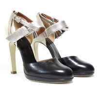 Dries Van Noten - Sz 36.5 - Ankle Strap Pumps - Black & Metallic - Made in Italy
