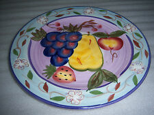 """Totally Today Hand Panted Fruit Design 11"""" Large Dinner Plates Set of 6 NEW"""