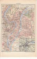 c. 1890 FRANCE LYON CITY PLAN Antique Map
