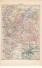 c. 1890 FRANCE LYON CITY PLAN Antique Map