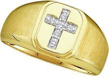 10K Mens Yellow Gold Cross Round Prong Diamond Fashion Band Ring