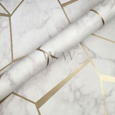 Fractal Geometrica Carta Da Parati Marmo Oro/Bianco-Fine Decor FD42265 metallica
