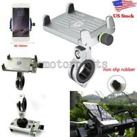 Silver Motorcycle Bike Handlebar Mount GPS Cell Phone Aluminum Holder For Phone