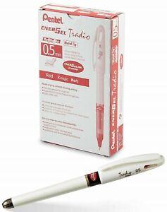 NEW Pentel 12-Pack EnerGel Tradio Pearl .5mm RED INK Gel Pen Classroom Supplies