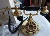 Mybelle Cherie 383P Deluxe Telephone à fil rétro boite noir et or romance phone