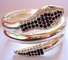 Gran Vintage Cristal Strass plateado pulsera serpiente clamper en espiral