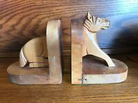 Vintage Hand Made Wooden Horse Bookends Front Rear